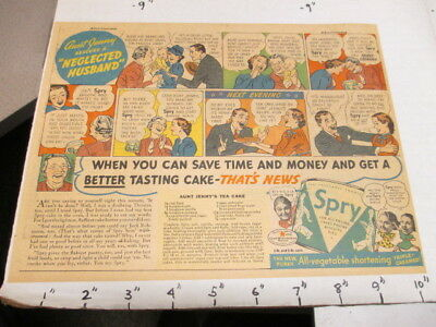 newspaper ad 1937 SPRY vegetable shortening fried food baking NEGLECTED HUSBAND