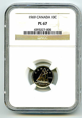 1969 Canada Dime 10 Cent Ngc Pl67 Proof Like Rare High Grade Certified Top Pop