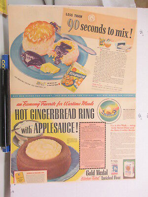 newspaper ad 1940s BISQUICK Gold Medal flour gingerbread WWII American Weekly