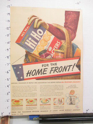 newspaper ad 1940s HI HO Sunshine Loose Wiles crackers box WWII American Weekly
