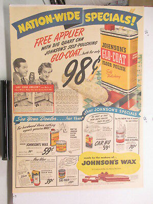newspaper ad 1940s JOHNSON'S Glo-Coat wax Fibber McGee Molly WWII Amer Weekly