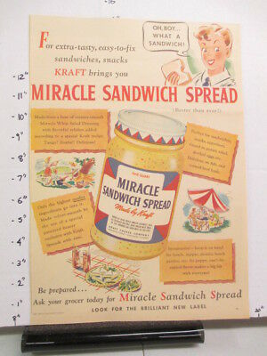 newspaper ad 1940s Kraft MIRACLE WHIP salad dressing WWII American Weekly BOY