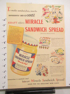 newspaper ad 1940s Kraft MIRACLE WHIP salad dressing WWII American Weekly picnic