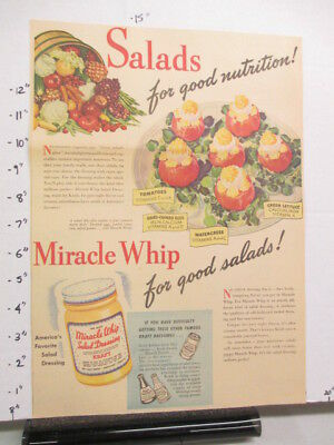 newspaper ad 1940s Kraft MIRACLE WHIP salad dressing WWII American Weekly plate