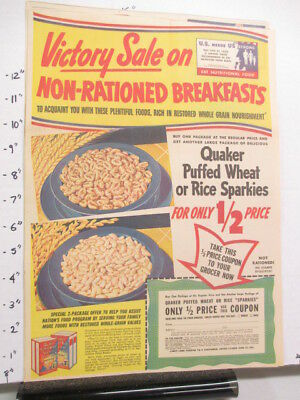 newspaper ad 1940s Quaker Puffed Wheat Rice cereal box WWII American Weekly 1/2