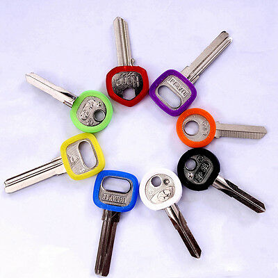 8pcs Candy Color Hollow Silicone Key Cap Cover Topper Keyring With Bly Braille #
