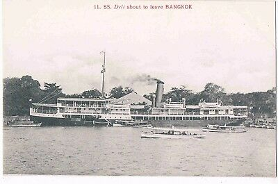 SIAM - STEAMSHIP S.S. DELI ABOUT TO LEAVE BANGKOK, c1910
