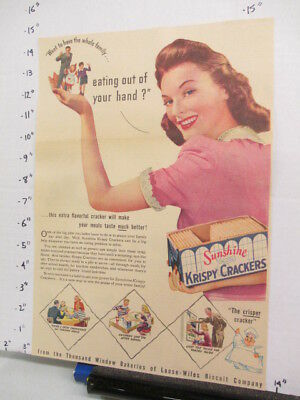 newspaper ad 1942 American Weekly Sunshine KRISPY cracker EAT OUT OF HAND