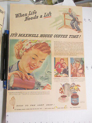 newspaper ad 1943 American Weekly MAXWELL HOUSE coffee WWII life lift