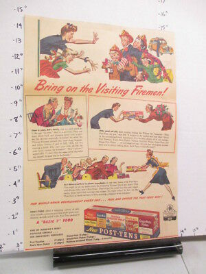 newspaper ad 1943 POST TENS cereal box single serve tray FIREMAN American Weekly