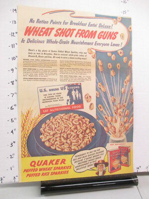 newspaper ad 1943 QUAKER Puffed Wheat Rice cereal box WWII American Weekly