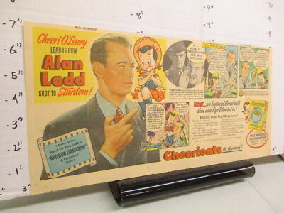 newspaper ad 1944 ALAN LADD movie Cheerioats cereal box Vaseline hair tonic