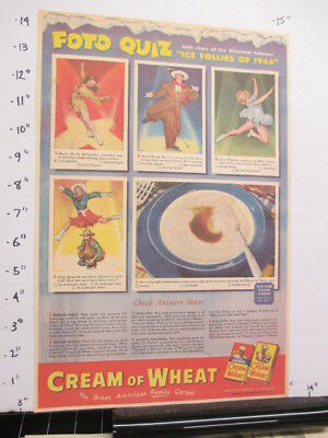 newspaper ad 1944 American Weekly WWII CREAM OF WHEAT cereal box ICE FOLLIES