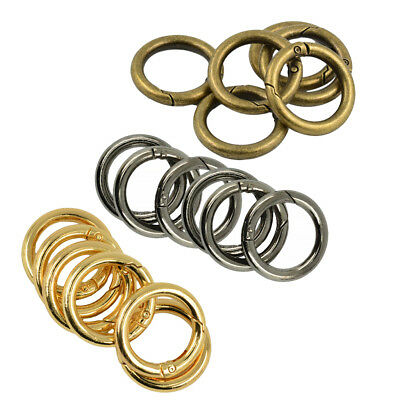 18Pcs Zinc Alloy Round Carabiner Circle Spring Snap Keyring Hook Bag Buckle