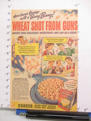 newspaper ad 1944 QUAKER Puffed Wheat Sparkies cereal box American Weekly