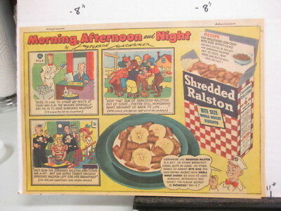 newspaper ad 1947 Shredded RALSTON cereal box comic Morning Afternoon Night