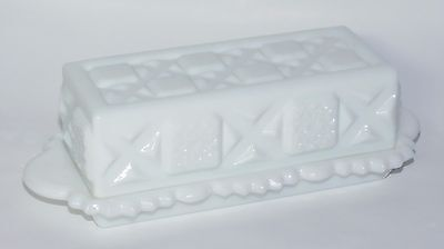 Vintage Westmoreland White Milk Glass Embossed Old Quilt Pattern Butter Dish