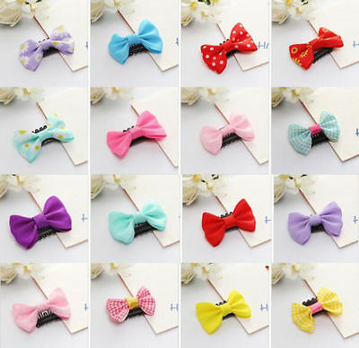 20 PCS Kids Baby Girl's Bow Ribbon Hair Bow Mini Latch Clips Hair Hairpins Gifts