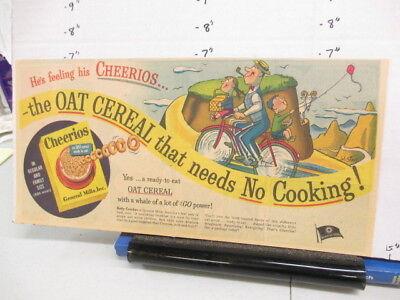 newspaper ad 1951 CHEERIOS cereal box comic General Mills mountain goat bicycle