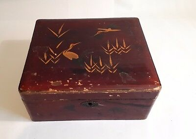 Antique c1900 Oriental (Chinese?) Wooden Lacquered Box. Cranes & Bamboo.