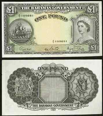 1953 ND The Bahamas Government One Pound Banknote Pick 15d Queen Elizabeth
