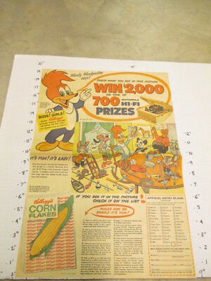 newspaper ad 1958 Kellogg's cereal box Woody Woodpecker Motorola record player