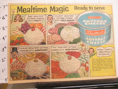 newspaper ad NYSN 1954 comic SEALTEST cottage cheese serve with fruit meat