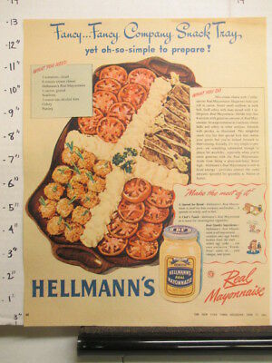 newspaper ad NYT 1945 HELLMANN'S real mayonnaise jar recipe snack tray tomato