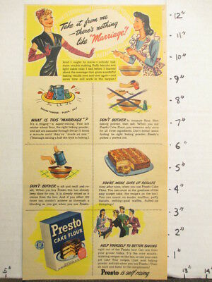 newspaper ad NYT 1945 WWII self rising cake flour PRESTO Best Foods marriage