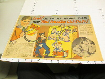 newspaper ad premium 1933 Disney 3 Little Pigs paper doll toy Post cereal box