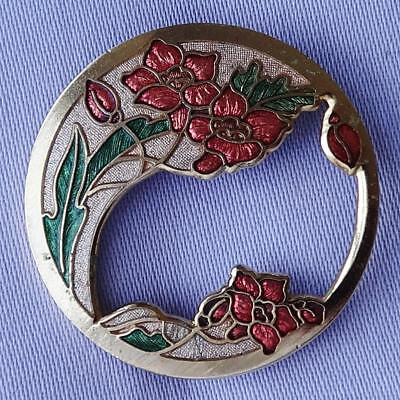 Vintage Cloisonné Pink & Green Flower Brooch by FISH