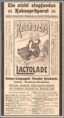 1901 Print Ad Theodor Reichardt Kakao Compagnie Lactolade Printed Advertisement