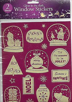 GLOW in the DARK CHRISTMAS Decoration WINDOW STICKERS Sealed pack of 2 Sheets