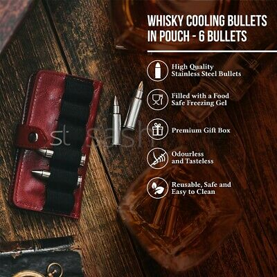 Livivo 6 Steel Whiskey Bullets Ice Drink Chiller Cooler Cold Shots Stones Pouch