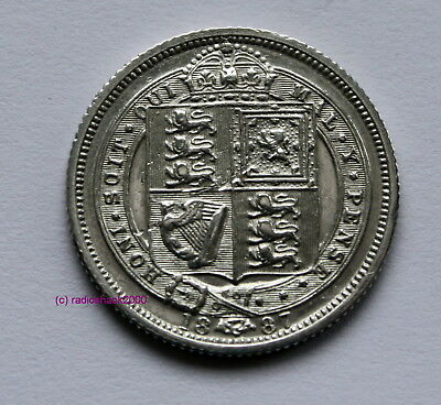 1887 Queen Victoria .925 Silver British Sixpence  6d Coin withdrawn type