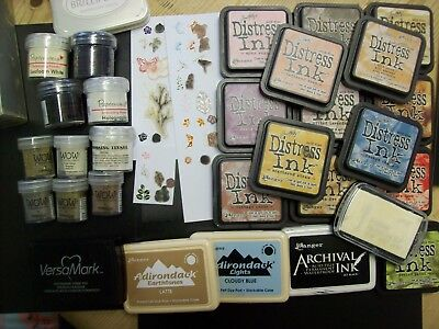 Large Stamping Set Includes Stamps,ink Pads & Embossing Powders