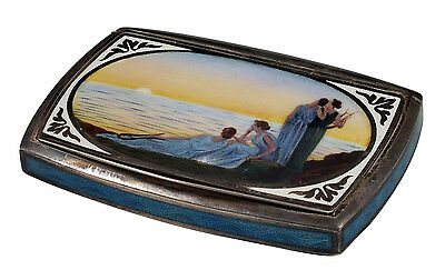 French Silver & Guilloche Enamel Compact w/ Painted View