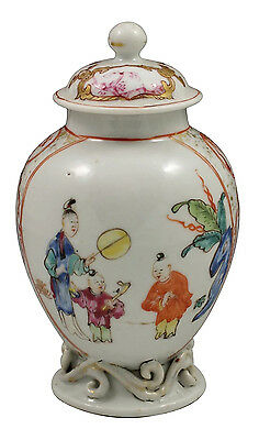 Fabulous 18thC Chinese Scenic  Tea Caddy w/ Characters