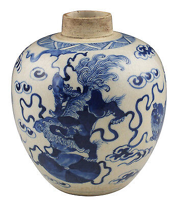 Antique Chinese Kangxi Period Blue & White Porcelain Jar w/ Foo Dogs