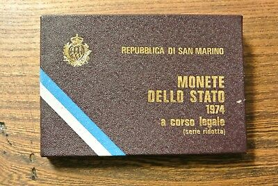 Boxed set of 5  - 1974 SAN MARINO coins and booklet (PM561)
