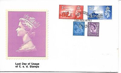 GB 1972 Last Day of £ s d stamps commemorative cover