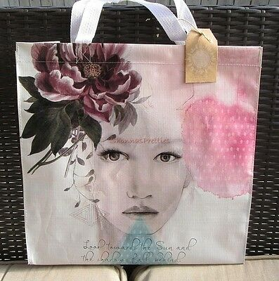 Pretty Sun Speak Recycled Large Market Shopper Big Tote Papaya Art Shopping Bag
