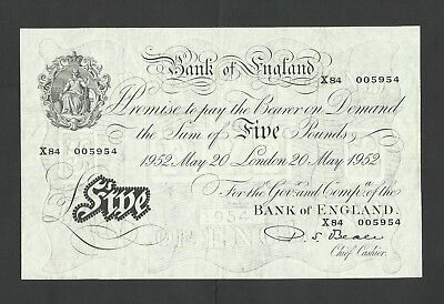 Beale   £5  1952   White Fiver  Genuine  Bank Of England  B270