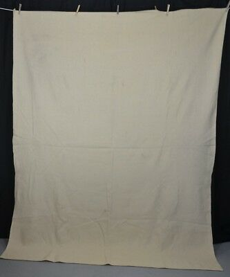 wool blanket hand woven home made cream 66 x 87  antique vintage