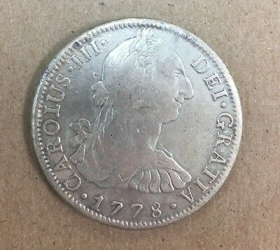 1778 Carlos III Mexico City 8 Real Reales Mo F. F.  Spain Colonial