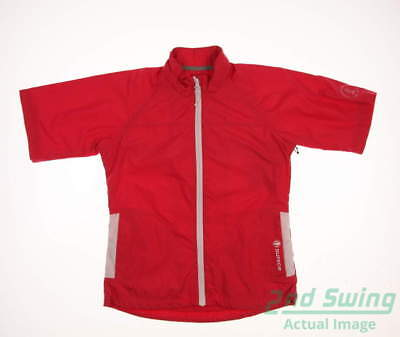 New W/ Logo Womens SUNICE Short Sleeve Golf Jacket Small S Red MSRP $75