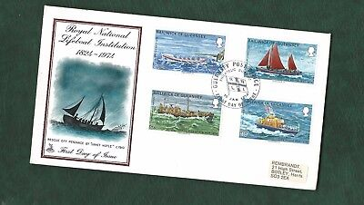 GB Guernsey & Isle of Man 3 different 1974 RNLI anniversary covers lifeboats