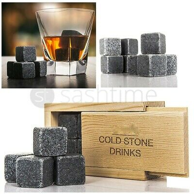 8Pc Whisky Ice Stones Drink Cooler Cubes Granite Scotch Pouch Rocks Domino Box
