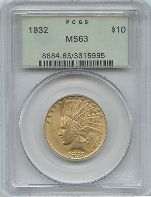 1932 $10 Indian Original Green Label Pcgs Ms-63