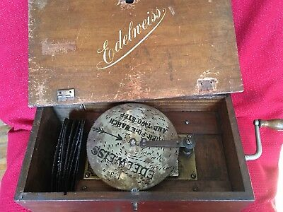 ANTIQUE VICTORIAN Disc Swiss  Cylinder MUSIC BOX 11 Records GOOD SOUND